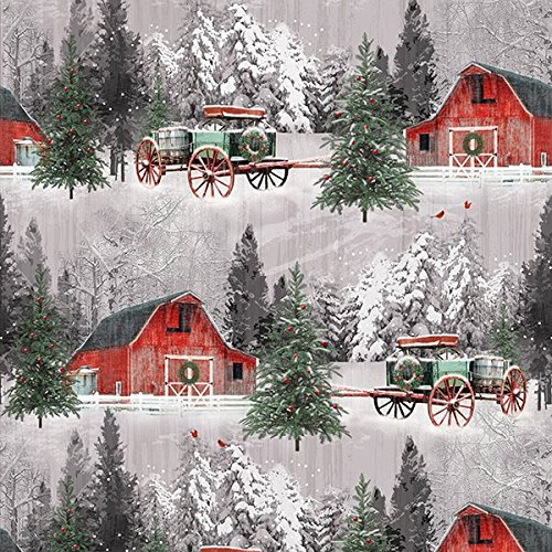 Barns, Wagons, Christmas Trees Allover, Winter Scene, Holiday Wishes, Henry Glass, Jan Shade Beach, 6929-86, By YARD (Fabric Holidays Quilt Cotton)