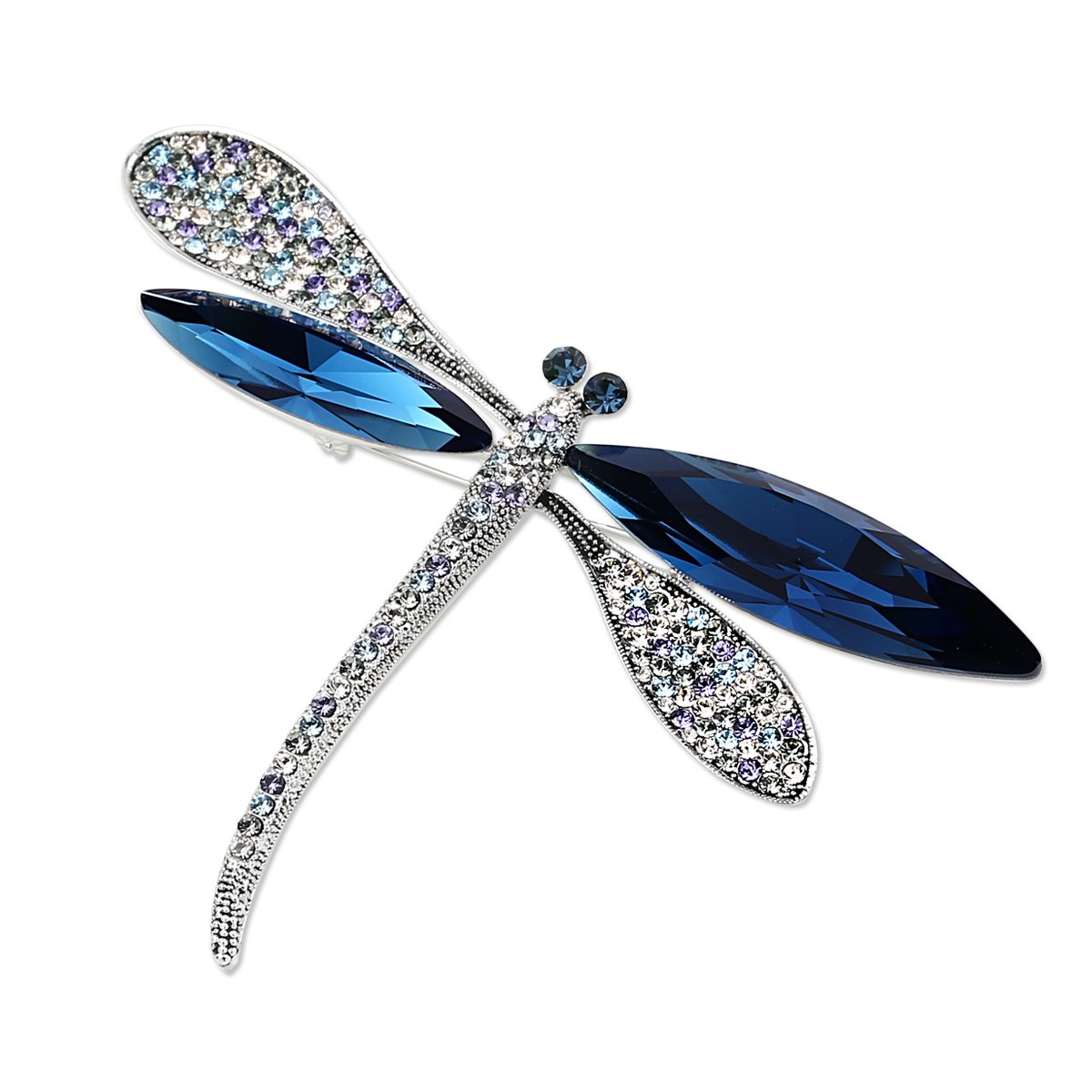 DONGZHOU Women's Rhinestone Crystal Luxurious Dragonfly Aniaml Brooch Pin Broach Fashion Jewelry