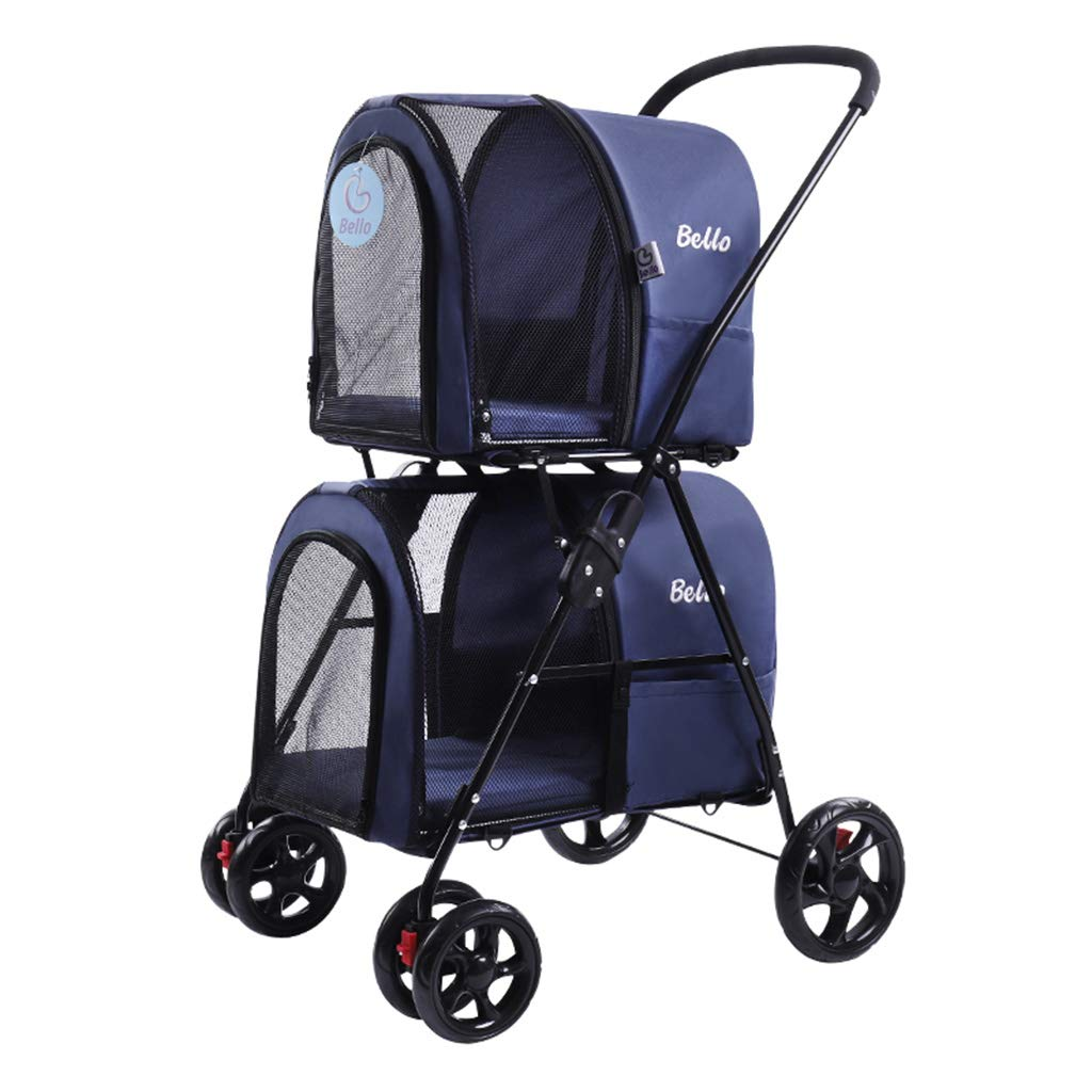 bluee Pet Stroller Light Foldable Double Layer Pet Trolley Outdoor Travel Pet Stroller Detachable Separation Cat Cage Four Rounds Puppy Stroller Multifunction Pet Trolley,bluee
