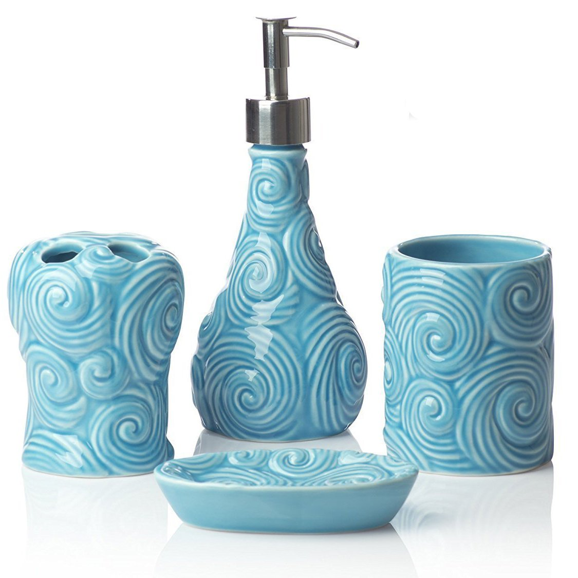 Designer - 4 Piece Bathroom Accessories Set - with Soap or Lotion Dispenser, Toothbrush Holder, Tumbler and Soap Dish - Glossy Finish - Porcelain (Ocean Waves, Aqua Blue)