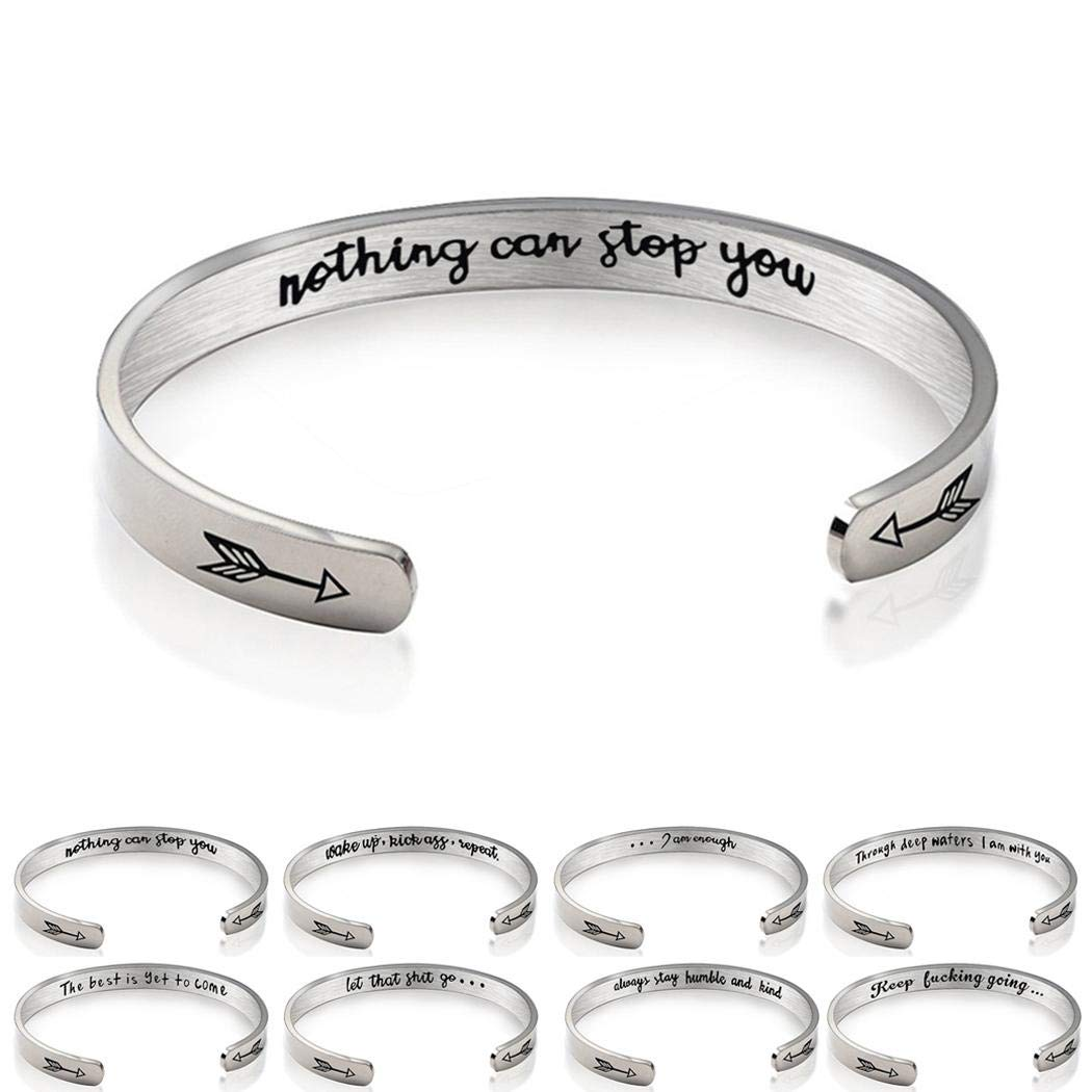 flowop Stainless Steel C-shaped Open Bracelet Women Men Bangle Jewelry Gift Bangle