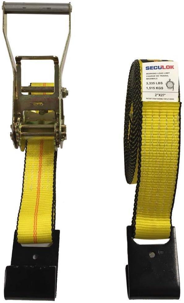 Seculok 2 X 27 Heavy Duty Ratchet Tie-Down Strap with Flat Hooks,10,000 lb Breaking Strength