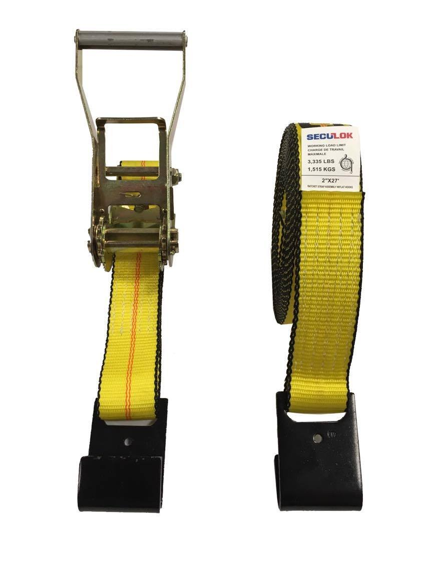 Seculok 2 X 27 Heavy Duty Ratchet Tie-Down Strap with Flat Hooks,10,000 lb Breaking Strength