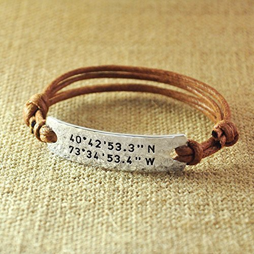 grid latitude image longitude is s bracelet personalised customised itm loading leather mens coordinate
