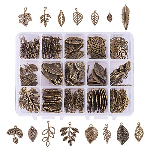 PH PandaHall 150pcs 15 Styles Tibetan Alloy Tree Leaf Charms Pendants Leaves Branch Beads Charms for DIY Bracelet Necklace Jewelry Making, Antique Bronze