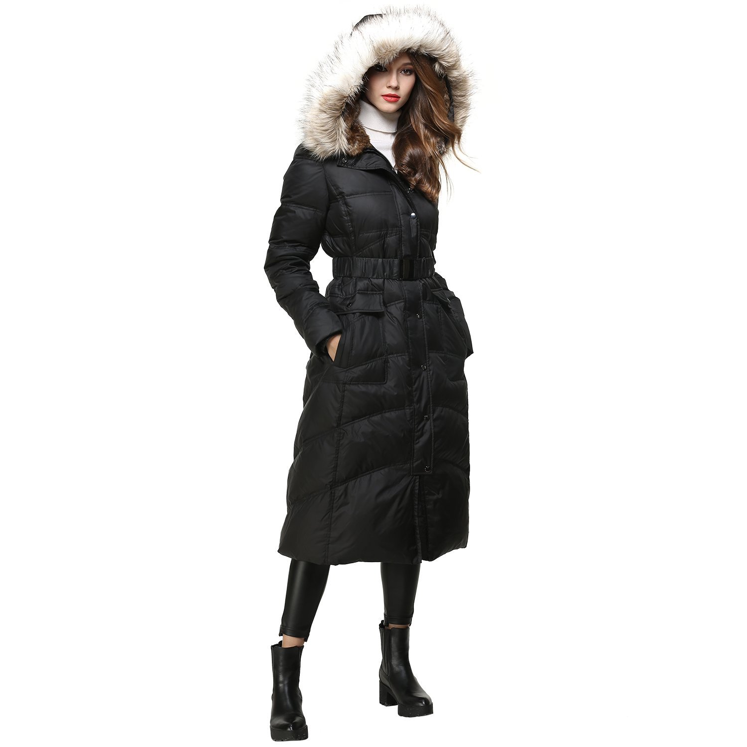 BLDO Women's Long Thickened Fur Hooded Down Jacket with Sashes (L, Black)