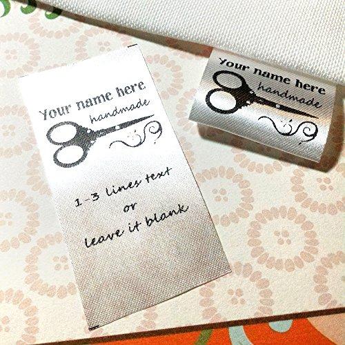 100 pcs Handemade Scissors Design Custom Clothing Labels Text Logo Personalized Sewing Hanging Satin Ribbon Folding Name tag Washable wash Care Handmade Label Size C