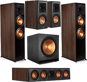 Klipsch Reference Premiere Home Theater System with 2 RP-8060FA 2-Way Floor Standing Speaker, RP-404C Center Channel, 2 RP-500M 75W Bookshelf Speaker Walnut, SPL-150 800W Subwoofer, Ebony