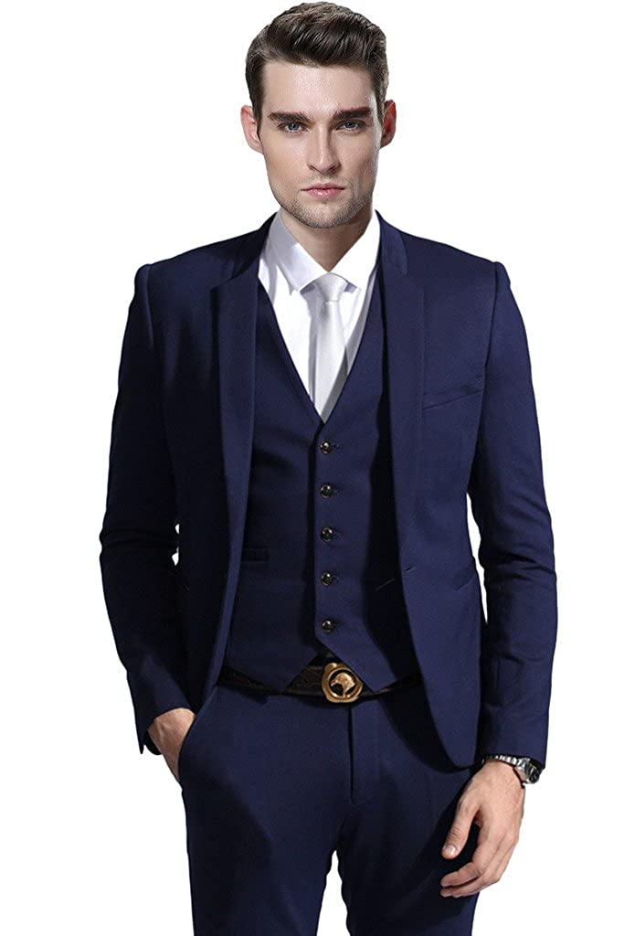 Hanayome Men's Modern Fit 3-Piece Suit Blazer Jacket Tux Vest & Trousers Set U125 U125A1