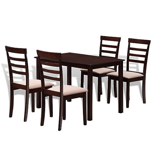 Tidyard Mesa de Comedor Mesa Salón con 4 sillas de Madera Maciza ...