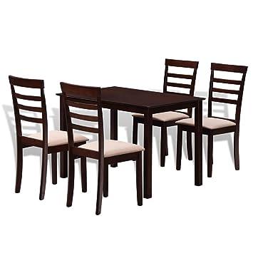 Set Table A Manger Et 4 Chaises Marron Creme En Bois Massif