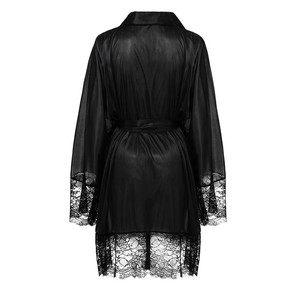 KIMODO Traje Kimono de satén Negro Sexy para Mujer Ropa de ...