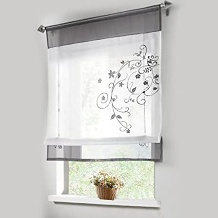 Ordinaire 1pcs Sheer Liftable Organza Embroidered Kitchen Curtains Roman Window  Shades,Grey,31x39u0026quot;