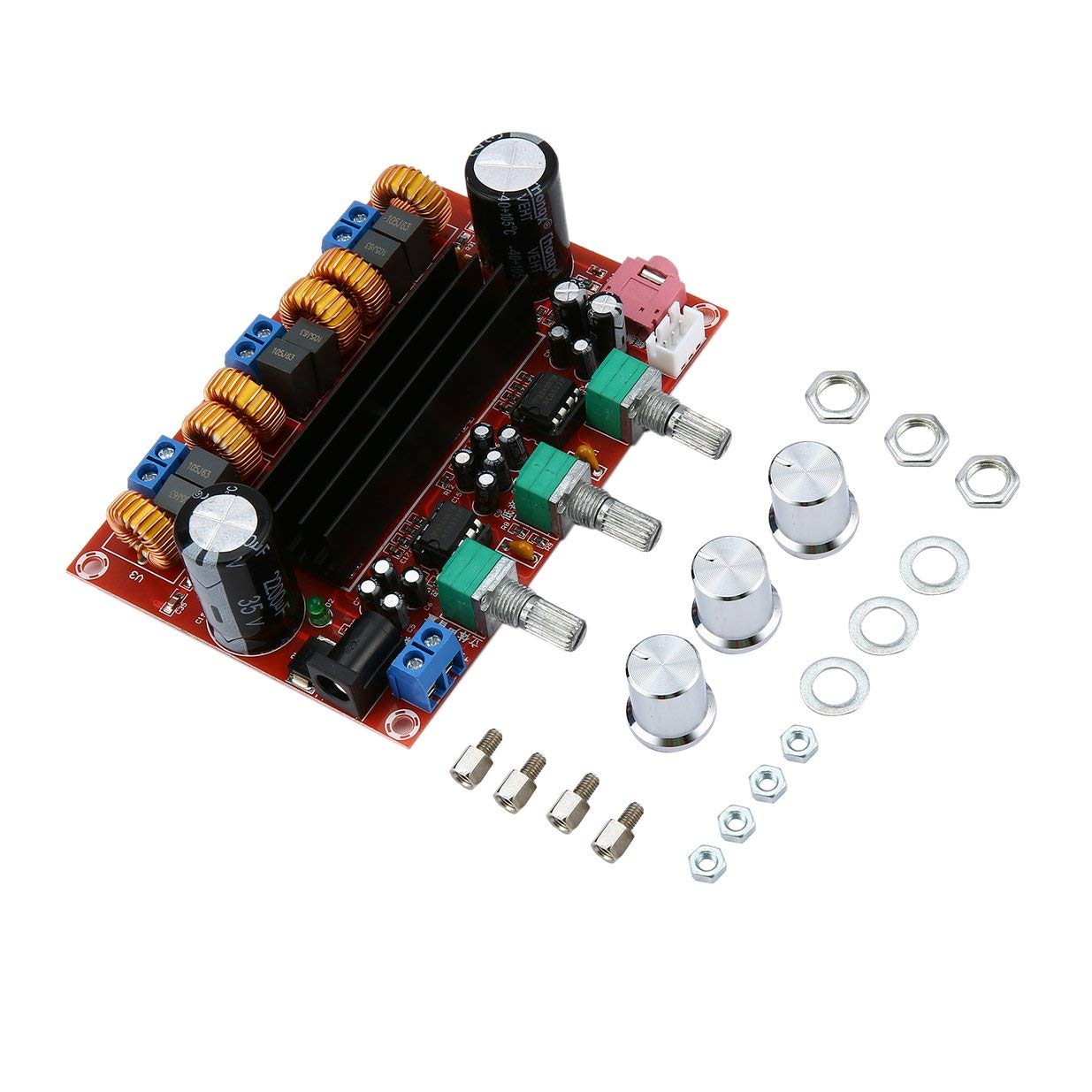 2.1 Amplifier Board, DROK 2.1 Channel 50Wx2+100W Stereo Audio Amplifier Module for Speakers, DC 10V-25V 12V 15V 19V 24V High Power TPA3116 DIY HiFi Digital Amp Kit with Volume Adjustment Knob Ensteinberge