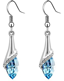 ca38f2657 Latigerf Women's Teardrop Shaped Long Dangle Earring White Gold Plated made  with Swarovski Crystal Blue