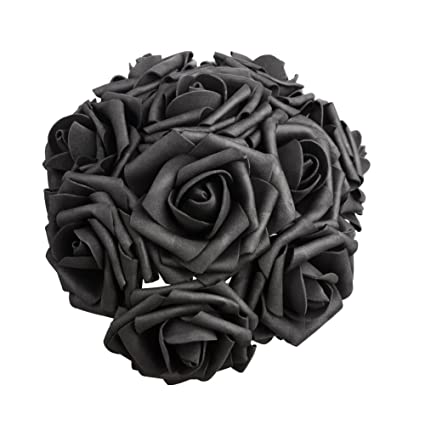 50 Pcs Artificial Flowers Black Roses Real Looking Fake Roses Diy Wedding Bouquets Centerpieces Arrangements Party Baby Shower Home Decorations