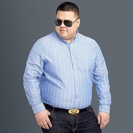 WYTX Camisas Camisa Suelta De Algodón A Rayas Verticales para Hombre Camisa De Manga Larga con Cuello En Punta Y Cuello Redondo De Algodón Más Gordo: Amazon.es: Deportes y aire libre