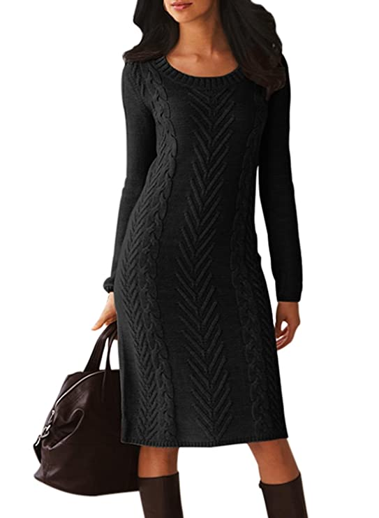 Womens Midi Length Dresses | Crew Neck Sweater Dress Slim Fit Pullover | Womens Midi Length Dresses