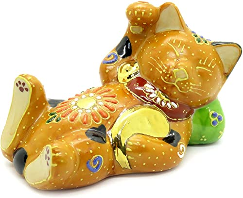 Kutani Japanese Maneki Neko Right Hand Dreaming Cat Ceramic