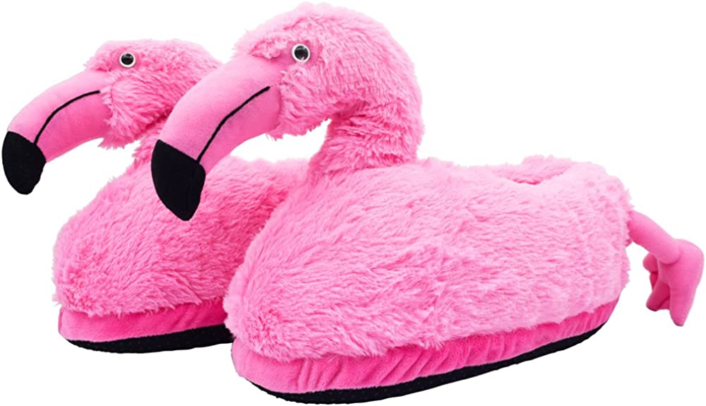Ibeauti Fluffy Flamingo Slippers Plush Furry Animal Slippers House Indoor Boot Slippers for Women Teen Girls Hot Pink