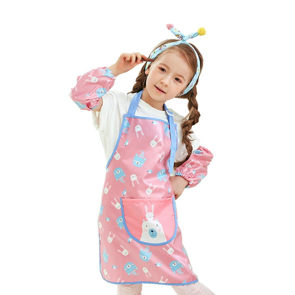 Hosim Kids Painting Apron for Girls and Boys, Children Adjustable Colorful Art Craft Smock with Oversleeves and Large Pocket, Reusable Painting and Kitchen Apron