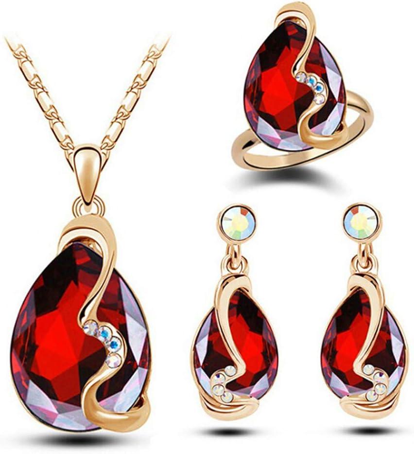 Ogquaton Trois pi/èces en cristal Zircon Goutte deau Pendentif Collier Boucle doreille Bague Set Bijoux Femme rouge rentable et de bonne qualit/é