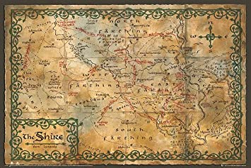 1 x the hobbit poster map the shire 36 x24 posters