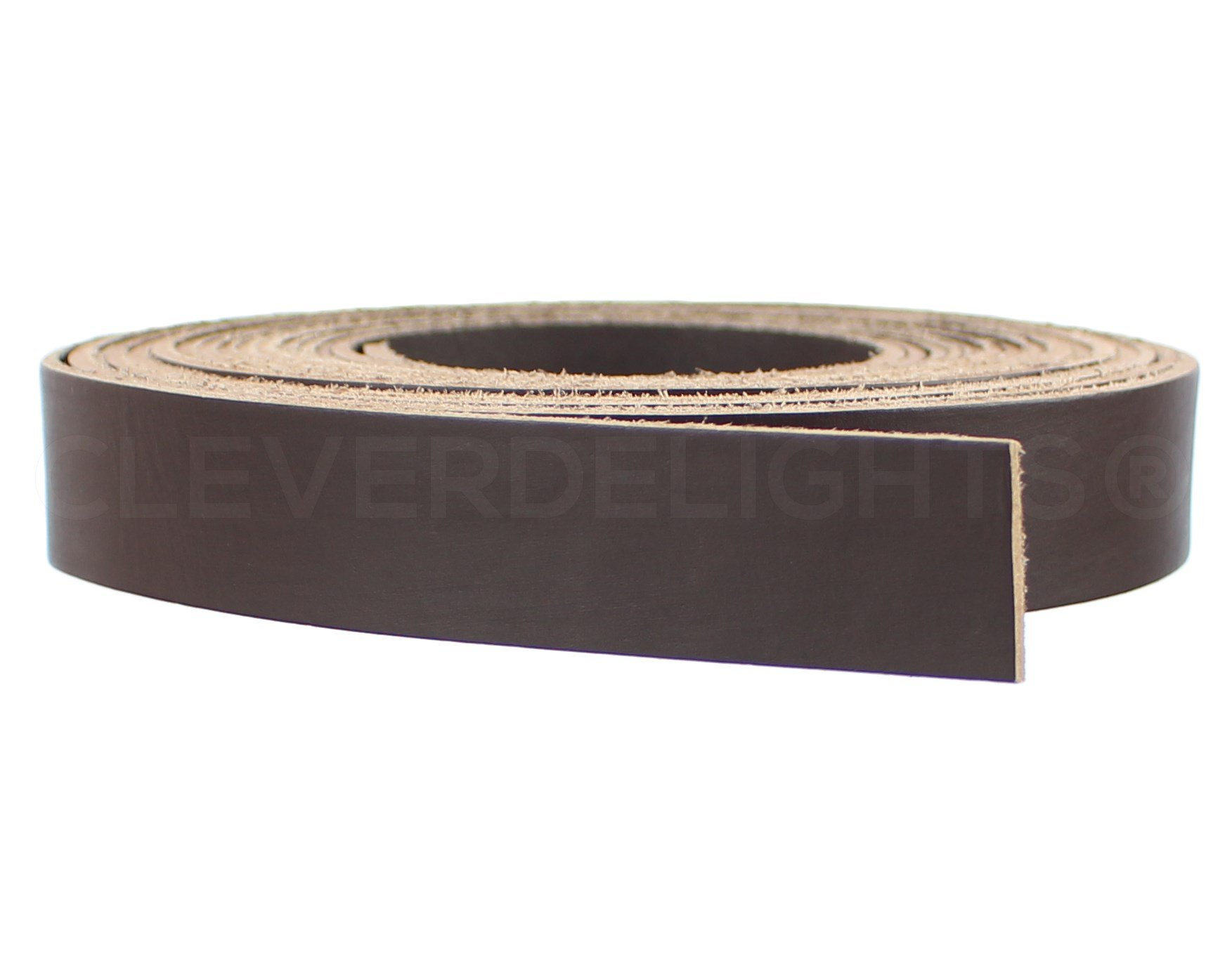 CleverDelights Premium Cowhide Leather Strap - Dark Brown - 1'' Wide - 15 Feet Long - 5oz Genuine Leather - Jewelry Craft Supply