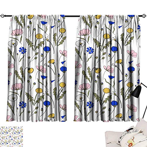 turquoise curtains Field flowers seamless pattern hand drawn illustration Bright cartoon illustration for card design fabric and wallpaper 72