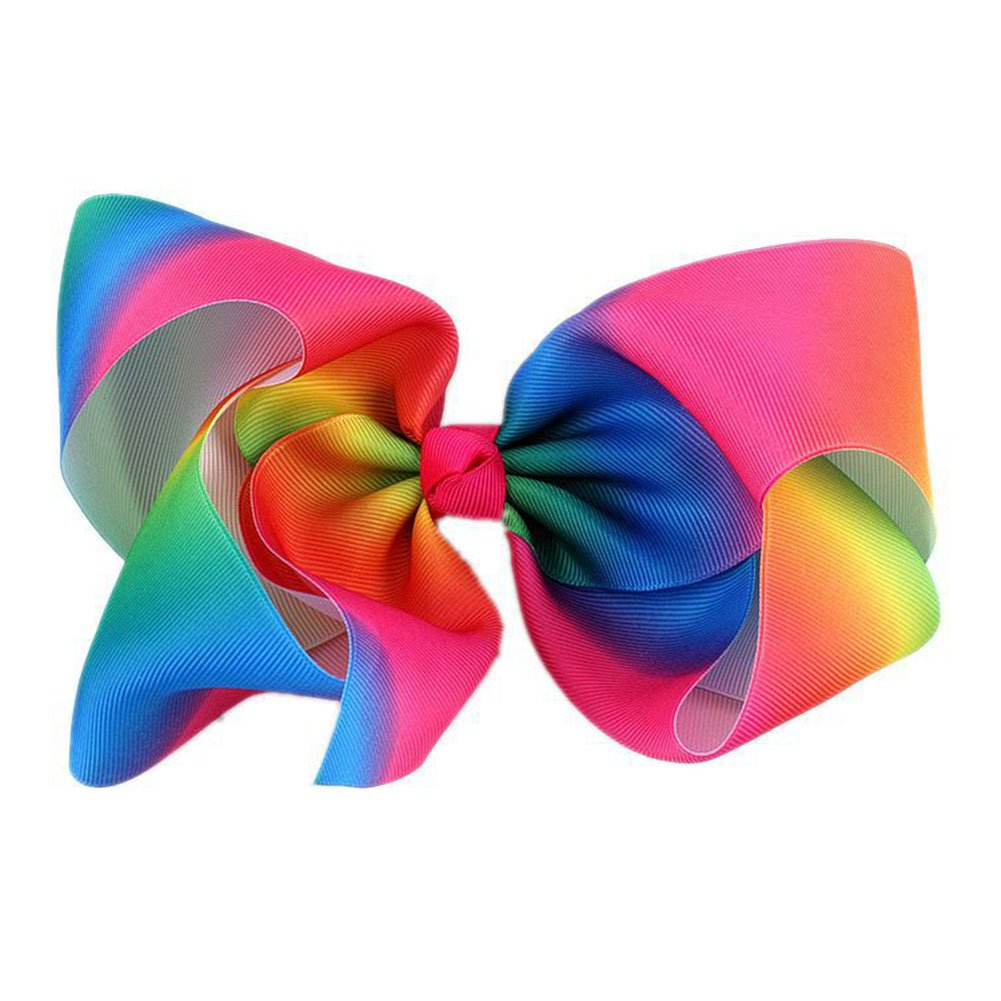 Kanggest Baby Girls Hair Barrette Fashion Hair Bows Rainbow Bowknot Clips Colorful Alligator Clips Hair Snaps Large Hair Accessory for Baby Kids Children Teenage Girls Size 20cm
