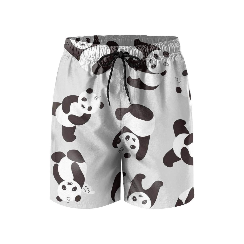 Mens Sporty Drawstring Adjustable Swim Short-Pandas Unicorn Style Beach Shorts