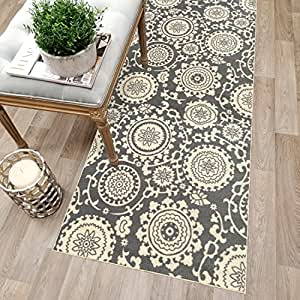 Kapaqua Custom Size Grey Floral Medallion Rubber Backed Non-Slip Hallway Stair Runner Rug Carpet 22 inch Wide Choose Your Length 22in X 1ft