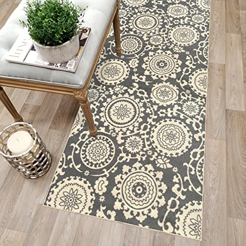 Kapaqua Custom Size Grey Floral Medallion Rubber Backed Non-Slip Hallway Stair Runner Rug Carpet 22 inch Wide Choose Your Length 22in X 6ft