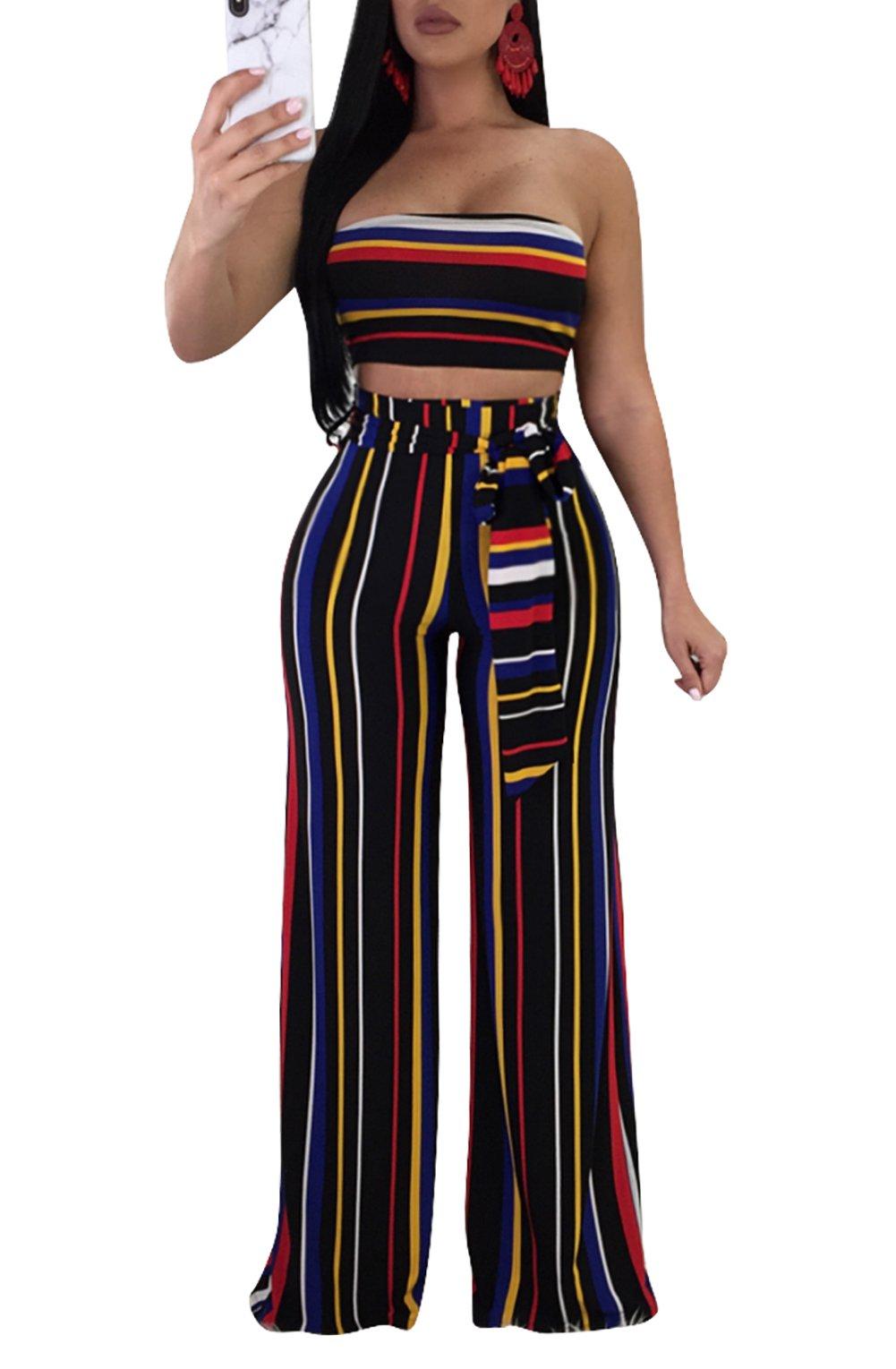 Molisry Women Striped Bandeau Tube Crop Top Wide Leg Pants Jumpsuits 2 Piece Outfits