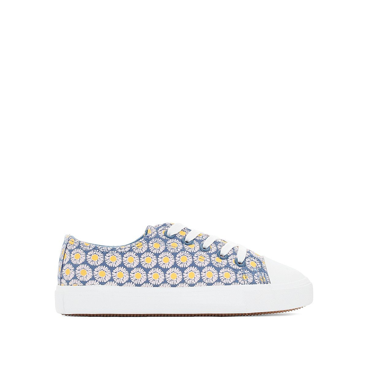 La Redoute Collections Big Girls Floral Low Top Trainers Grey Size 35 (2.5 to 3)