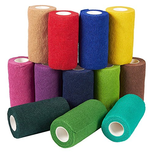 (Self Adherent Wrap - 12 Pack of Cohesive Bandage Medical Vet Tape for First Aid, Sports, Wrist, Ankle in 12 Colors with 1 Roll Each, 4 Inches x 5 Yards )