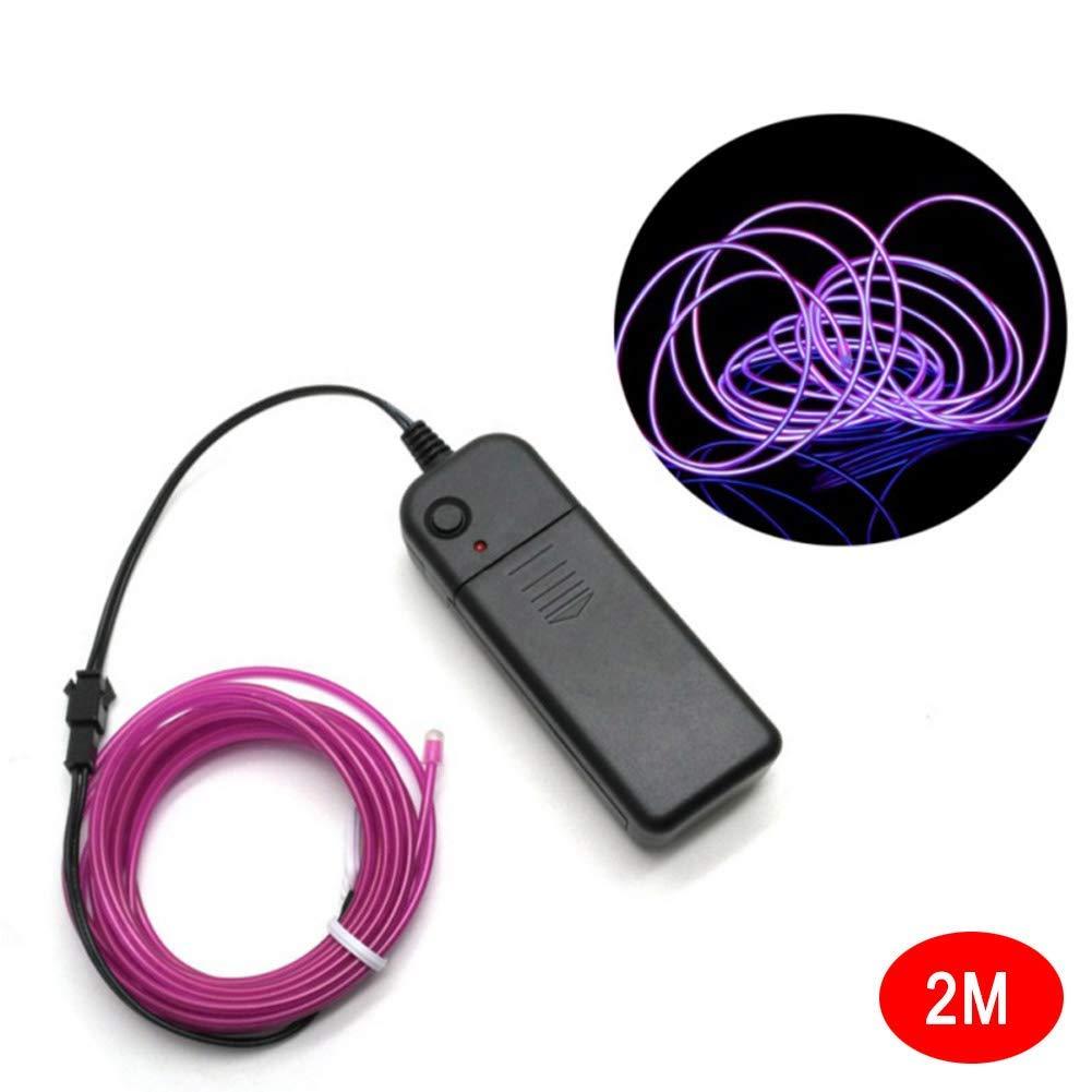 Vaugan Cable el Ne/ón Brillante Luz Funciona con Pilas Impermeable LED Tiras para Halloween Navidad Amarillo 1m
