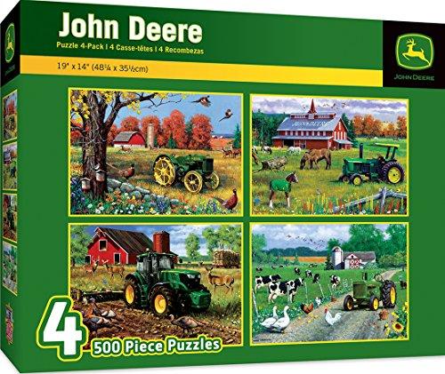 MasterPieces John Deere 4-Pack 500 Piece Jigsaw Puzzles by Greg (John Deere Farm Scene)