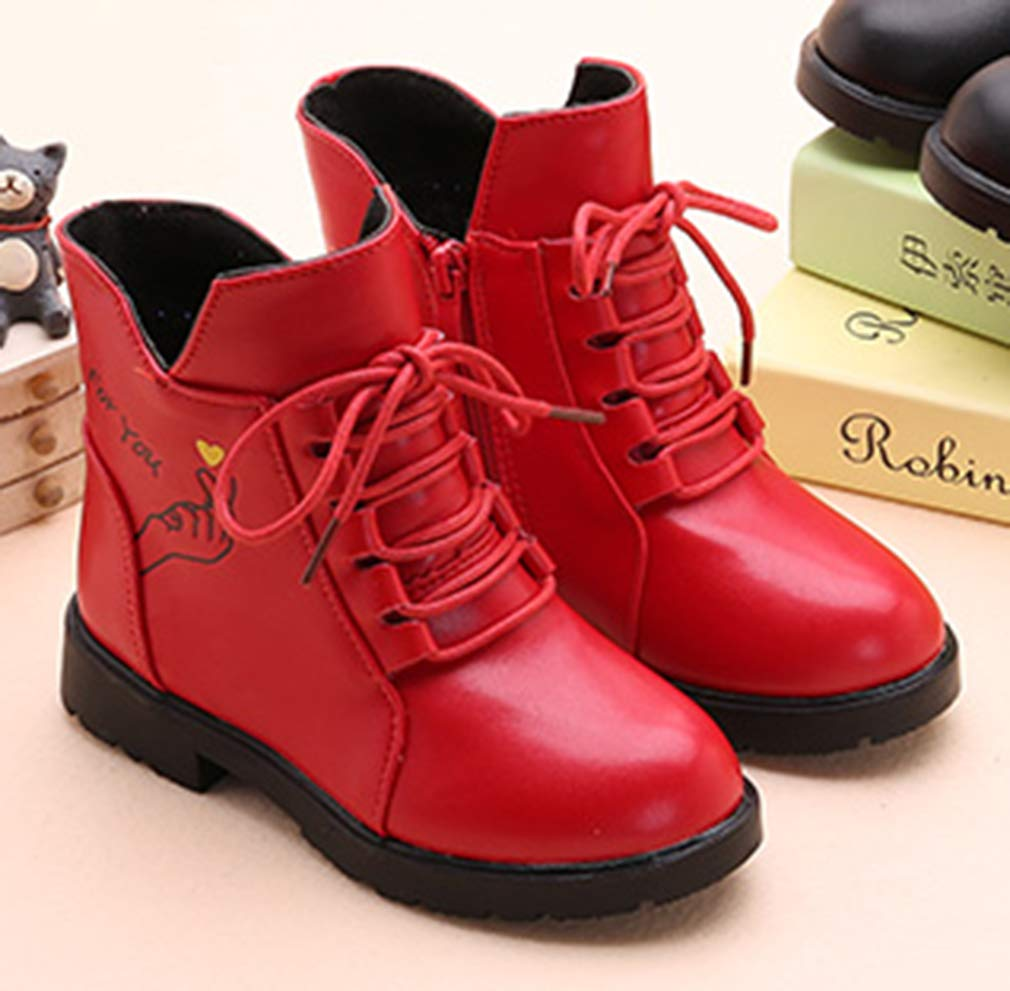 VECJUNIA Girl's Cartoon Ankle Martin Boots Zip Up Shoes School Uniform (Red, 2.5 M US Little Kid) by VECJUNIA (Image #4)