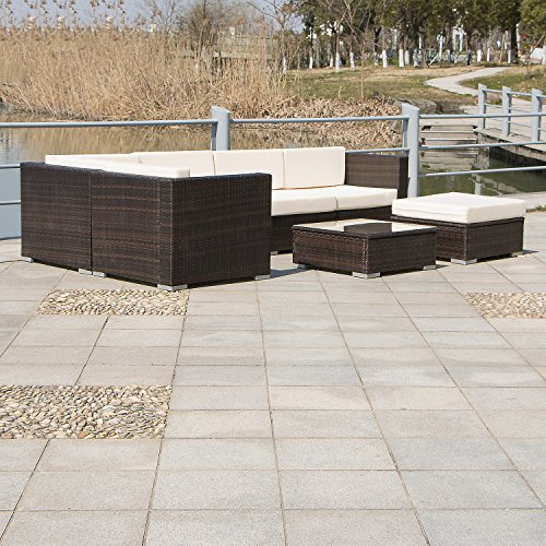 Outdoor wicker patio pe rattan 7pcs couch sectional sofa furniture set - Bestmart Inc New Home Garden Outdoor Pe Rattan Wicker