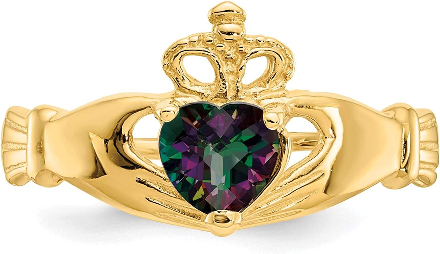 14K Yellow Gold Polished CZ June Stone Claddagh Heart Ring Size 7