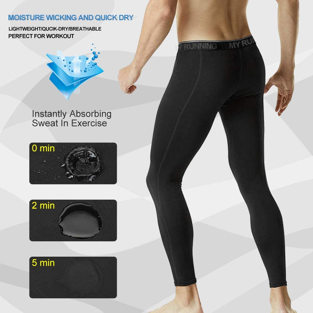MEETYOO Legging Homme Noir+Gris M Sport Pantalons et Compression Collant Cool Dry Fitness Musculation Respirant Base Layer pour Running Jogging Cyclisme Course