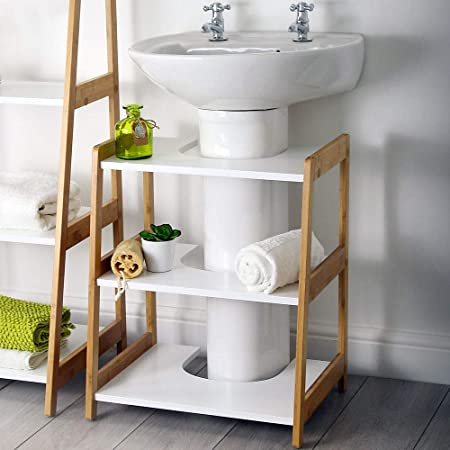 Marvelous House Homestyle White Bamboo Bathroom Under Sink Basin Home Interior And Landscaping Mentranervesignezvosmurscom