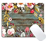 Wknoon Gaming Mouse Pad Custom Design, Vintage Background with Hand Drawn Floral Wreath Image on Rustic Wood