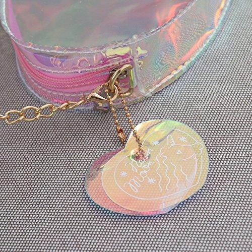 Belle Sac Transparent À Chaîne Coeur Femmes Rose multicolore Forme Bandoulière Cosmétiques AOTp0