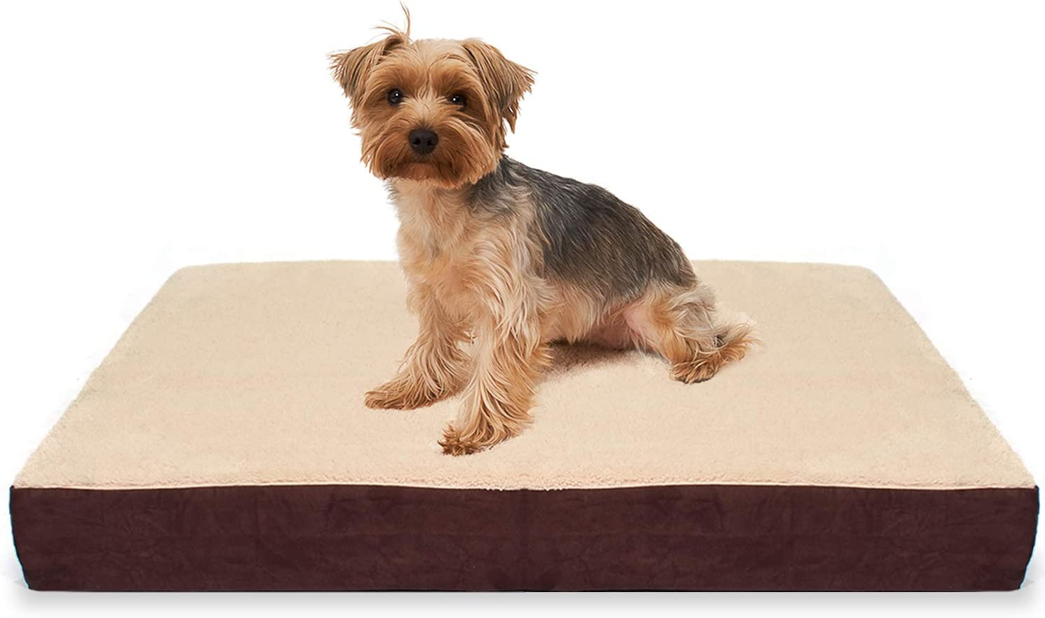 KOPEKS Rectangular Orthopedic Memory Foam Dog Bed – Includes Waterproof Inner Protector Removable Cover