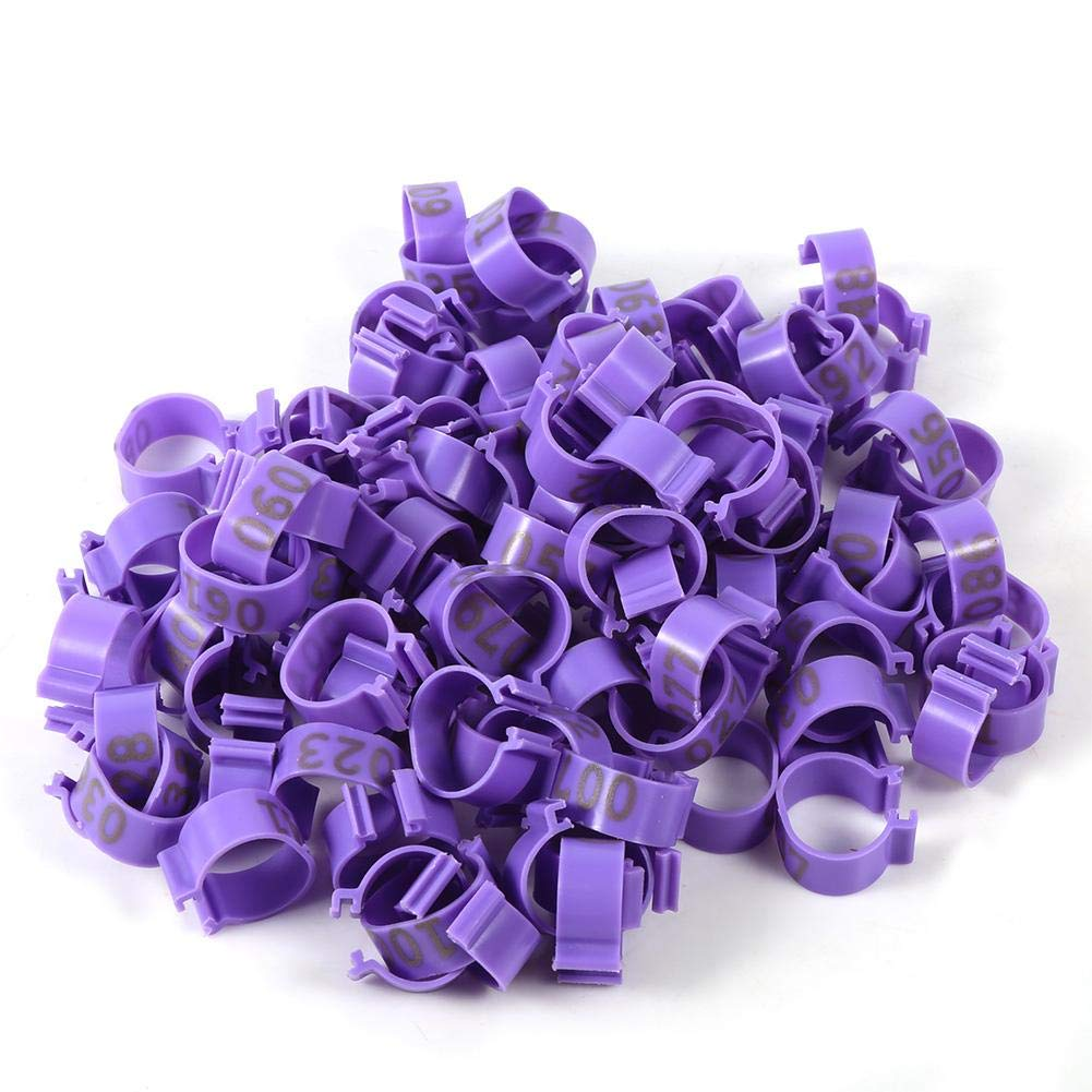 6Colors 100PCS/Bag 16MM 001-100 Goose Leg Numbered Plastic Poultry Chickens Ducks Bands Rings Clip-On Poultry for Identification Band(Purple) by Sheens