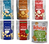 Moon Cheese Cheddar, Gouda, Pepper Jack, Mozzarella, Monterey Jack Sriracha & Whisps Parmesan Cheese Crisps (6 Cheeses Bundle); All Low Carb, Gluten Free & 100% Cheese