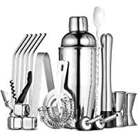 JACKBAGGIO New 18Pc Stainless Steel Bartender Kit,Premium Cocktail Shaker Bar Tools Set for Bar Home Party