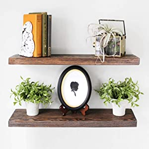 Willow & Grace Wooden Floating Shelves - Natural Rustic Home Decor Bookshelves, Easily Mounted | Perfect Decorative Wall Shelf for Your Bathroom, Kitchen and Bedroom | Dark Walnut (24